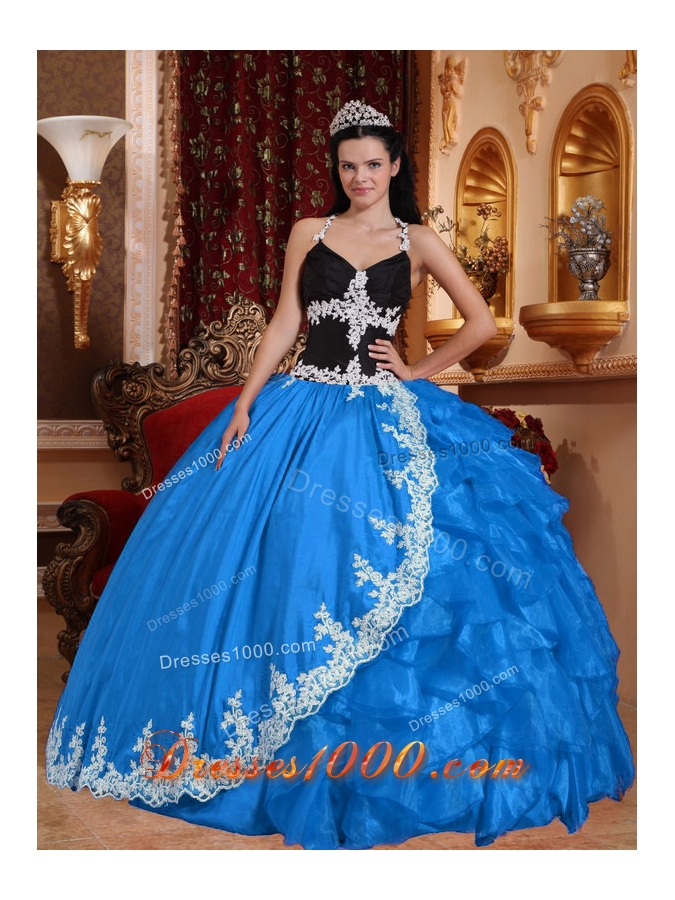 2014 Exquisite Baby Blue Puffy V-neck Appliques Quinceanera Dress with Ruffles