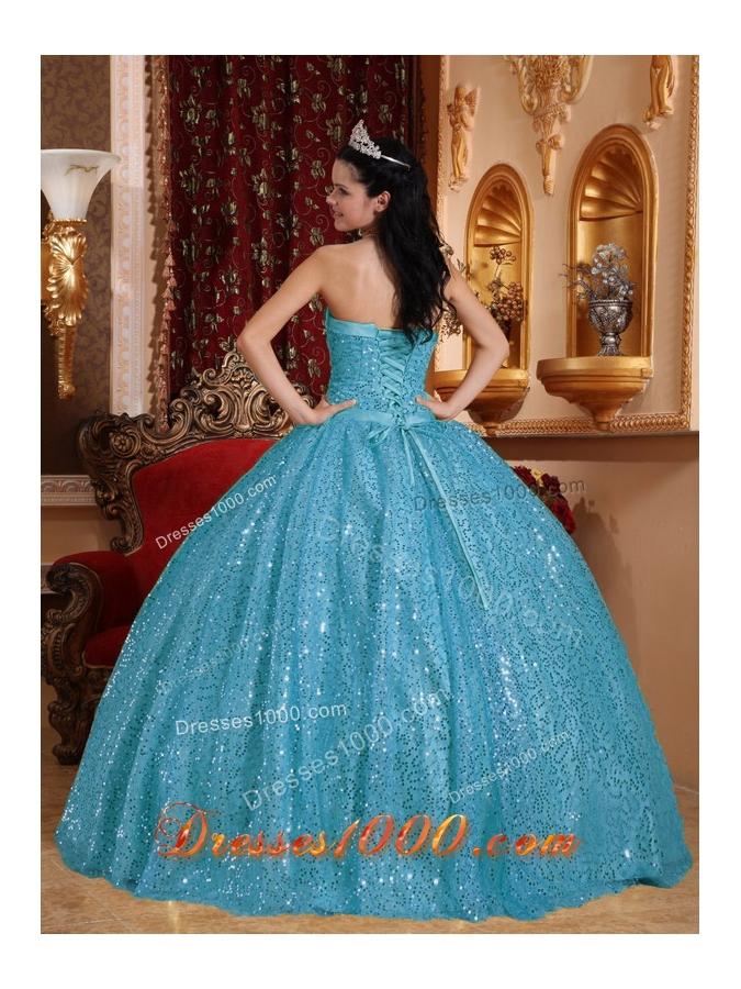 2014 Aqua Blue Puffy Sweetheart Beading Quinceanera Dress