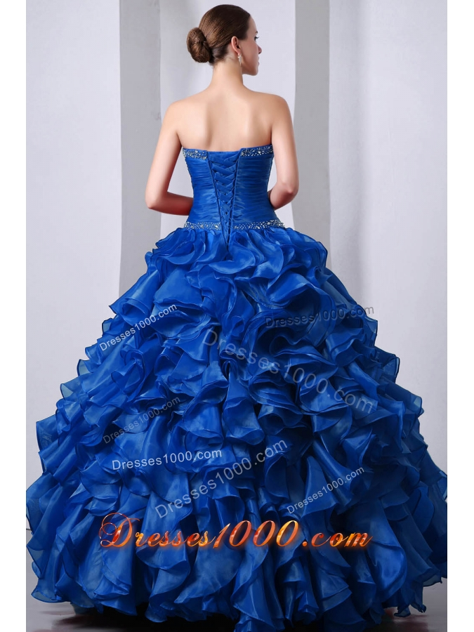 2014 Blue Princess Sweetheart Beading Quinceanea Dress with Rufffles