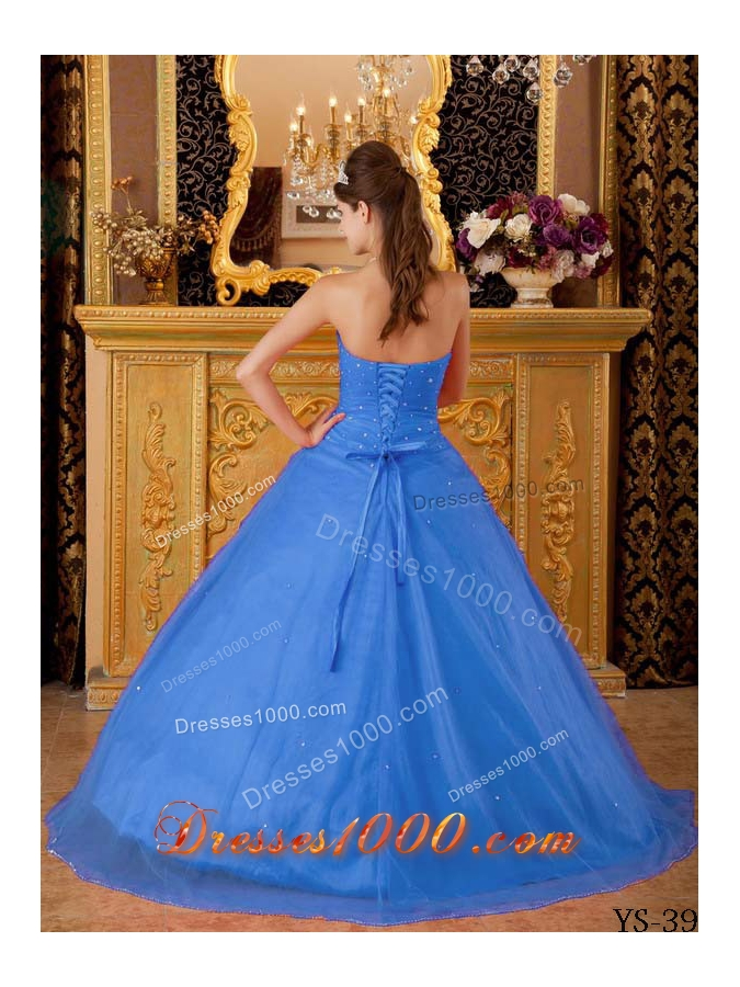 2014 Popular Blue Princess Strapless Appliques Quinceanera Dress with Beading