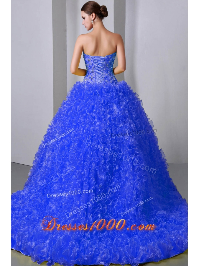 2014 Quinceanea Dress in Blue Princess Sweetheart Brush Train with Beading and Ruffles