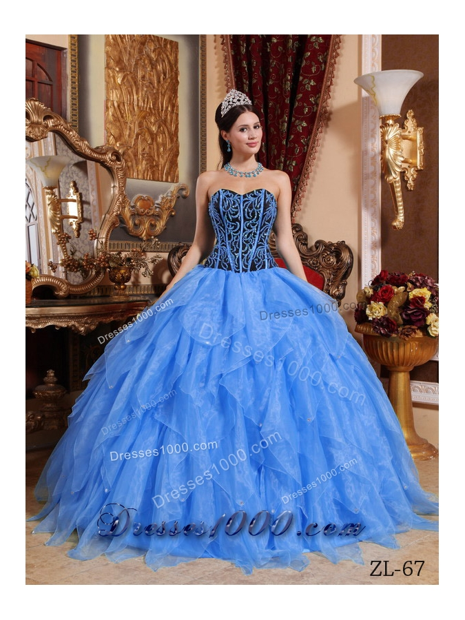 Inexpensive Blue Puffy Sweetheart Embroidery and Beading Quinceanera Dress For 2014