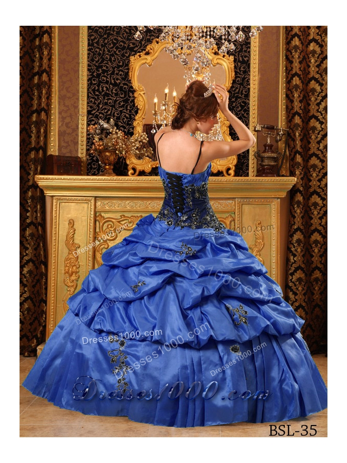 Lovely Royal Blue Puffy Straps For 2014 Appliques Quinceanera Dress