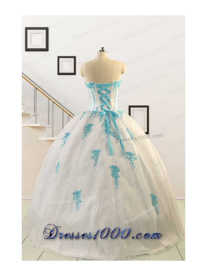 2015 Affordable White Quinceanera Dresses with Appliques