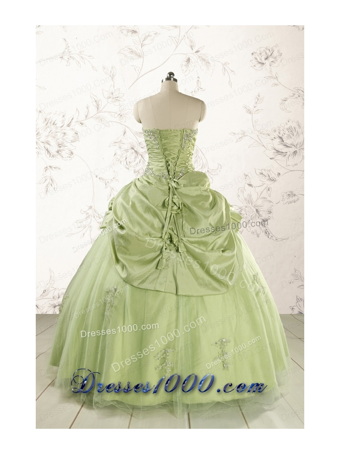 2015 Sweetheart Beading Quinceanera Dress in Yellow Green