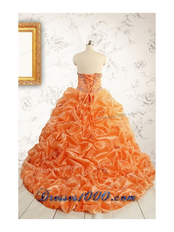 Unique Appliques Brush Train Quinceanera Dresses in Orange
