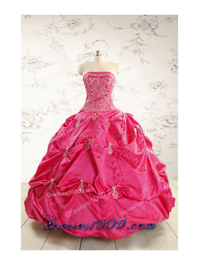 2015 Beautiful Strapless Quinceanera Dress with Appliques