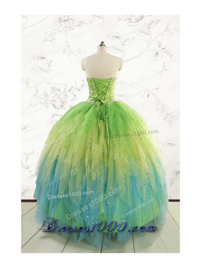 2015 New Style Beading and Ruffles Quinceanera Dresses in Multi-color