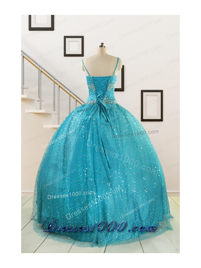 Perfect Spaghetti Straps Appliques Sequins Turquoise Quinceanera Dresses for 2015