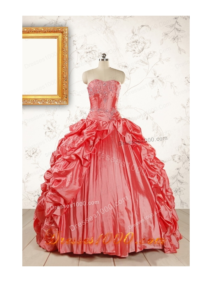 2015 Beautiful Sweetheart Beading Quinceanera Dresses in Watermelon