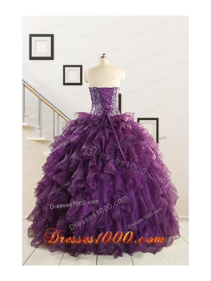 2015 Luxurious Beading and Ruffles Quinceanera Dresses in Purple