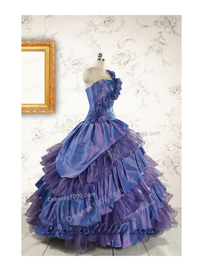 2015 Remarkable One Shoulder Hand Made Flowers and Ruffles Quinceanera Dresses