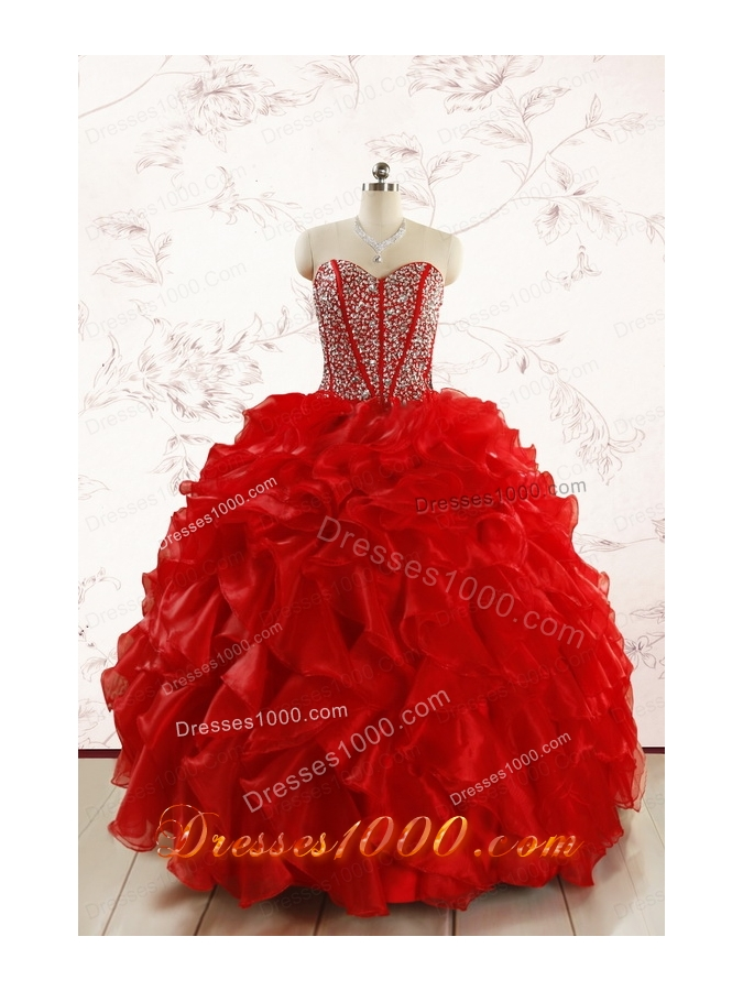 Red Beading and Ruffles Sweetheart Pretty Quinceanera Dresses for 2015