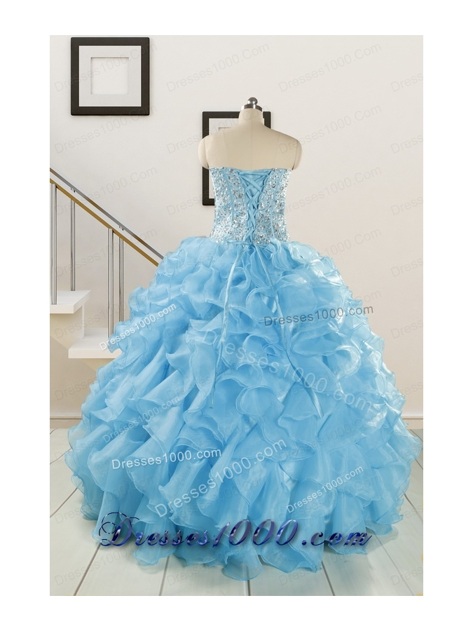 Luxurious Beading Blue Quinceanera Dresses for 2015