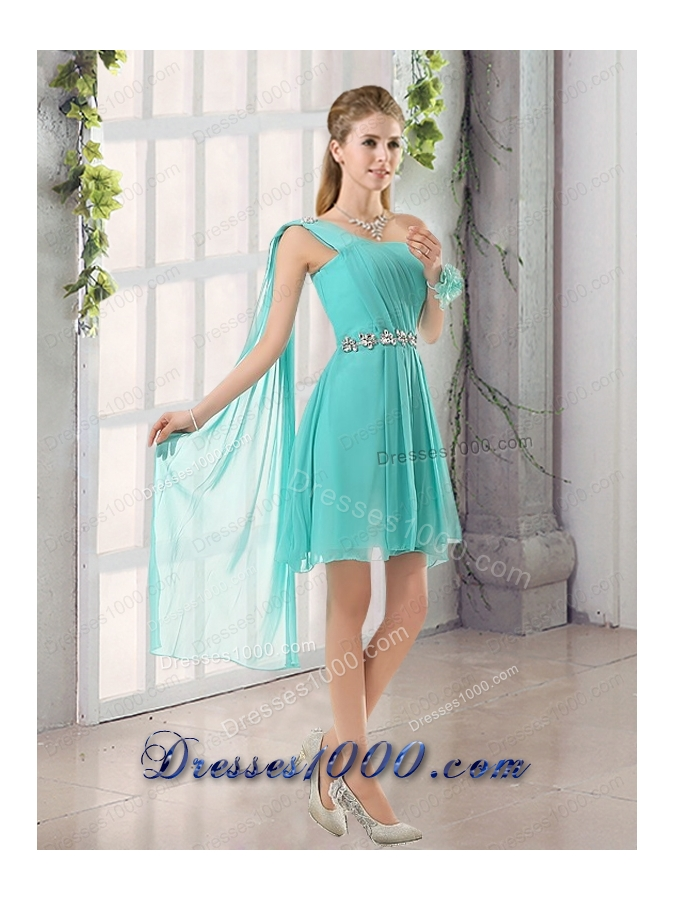 One Shoulder A Line Beading and Ruching Prom Dress with Lace Up