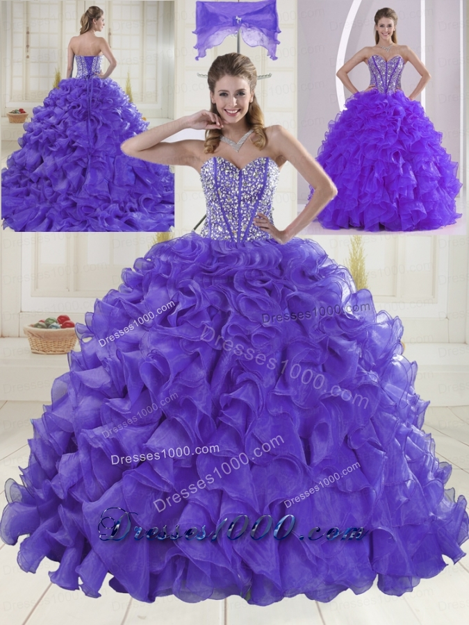 Hot Sale Sweetheart Brush Train Quinceanera Dresses for 2015