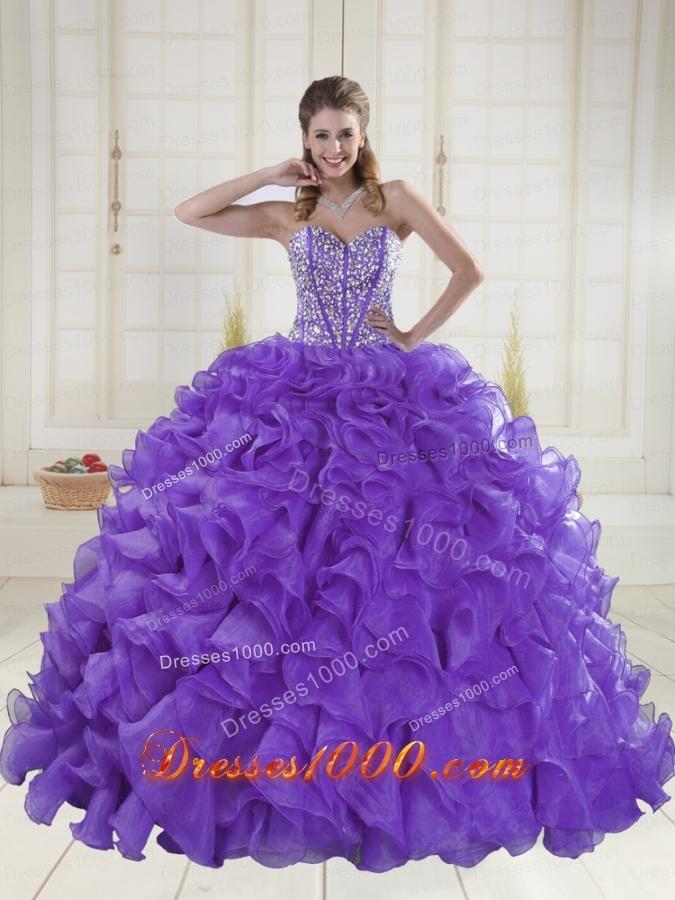 Pretty Sweetheart Brush Train Beading Quinceanera Dresses in Purple