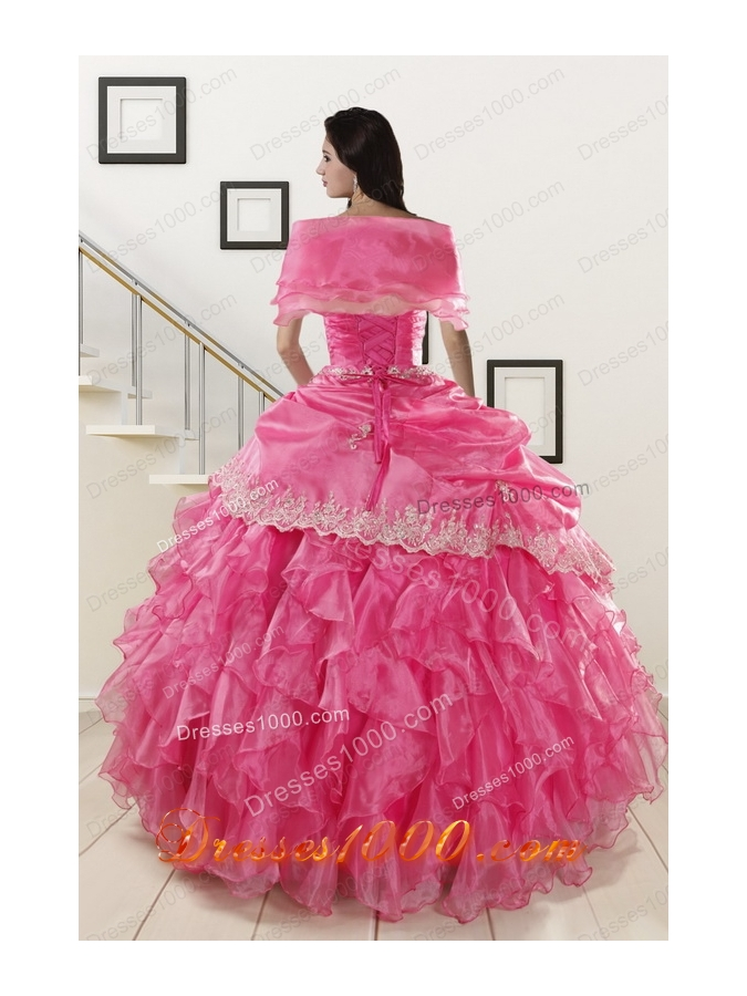 2015 Elegant Appliques and Ruffles Quinceanera Gowns in Hot Pink