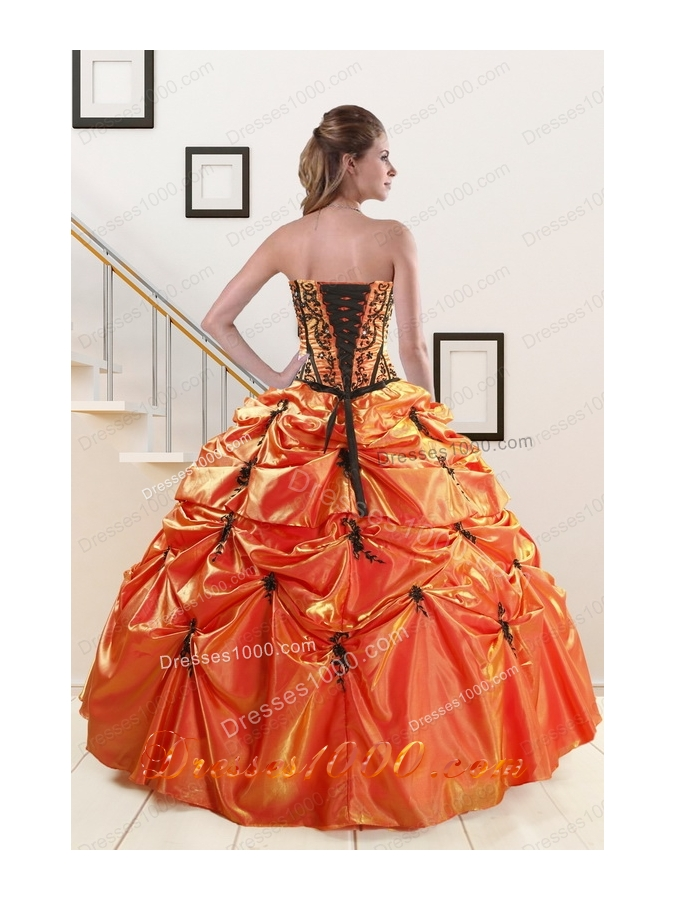 2015 Elegant Appliques Quinceanera Dresses in Orange Red and   Black