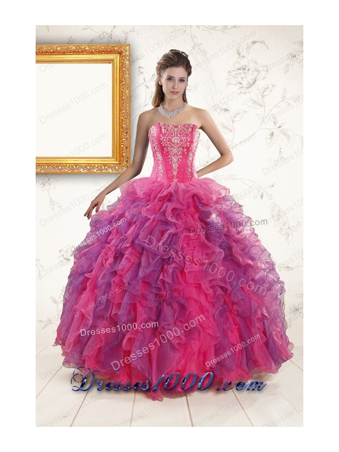 2015 Elegant Multi Color Quinceanera Dresses with Appliques and Ruffles