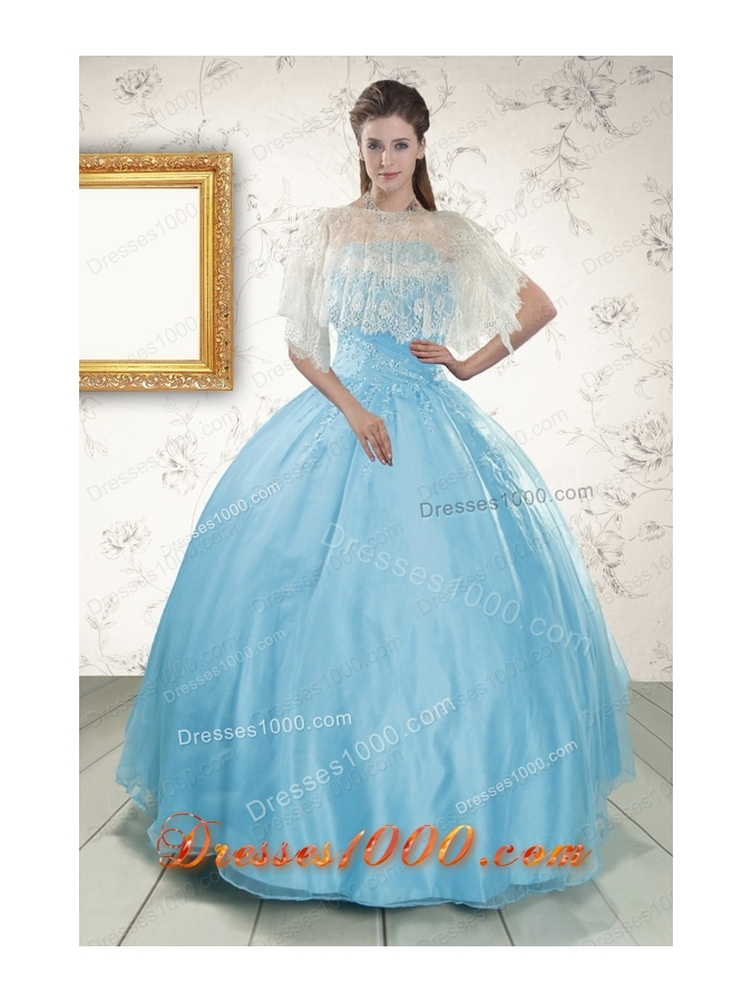 Elegant Strapless Beading 2015 Affordable Quinceanera Dress in Baby Blue