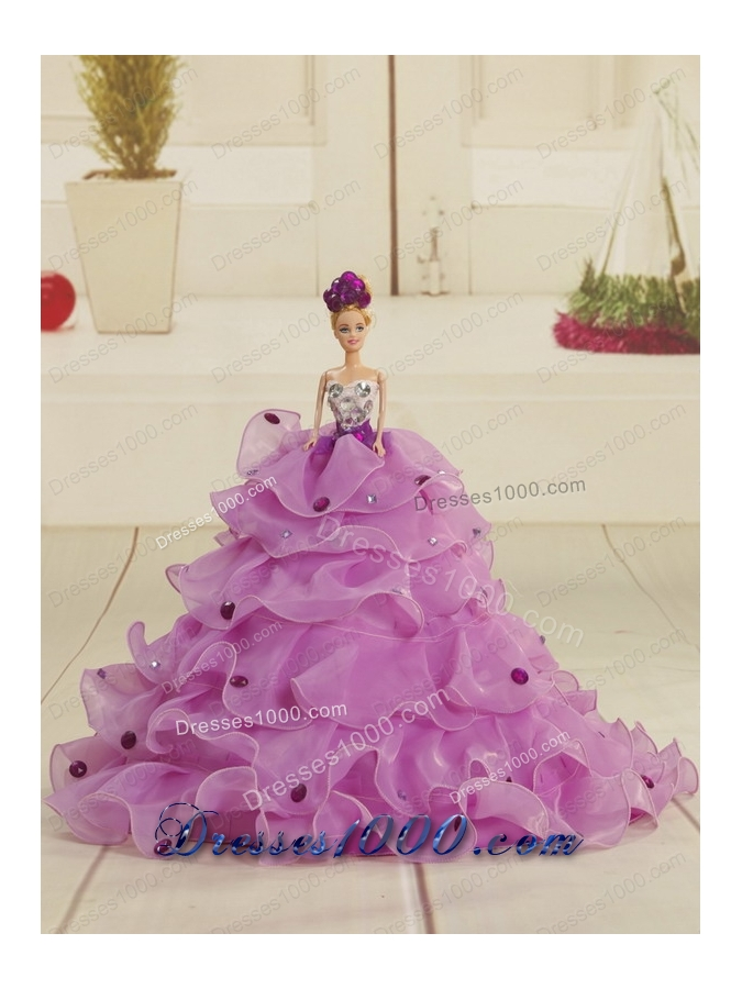 2015 Brand New Strapless Lavender Quinceanera Dresses with Appliques