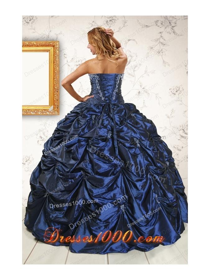 2015 Elegant Appliques Navy Blue Quinceanera Dresses with Pick Ups