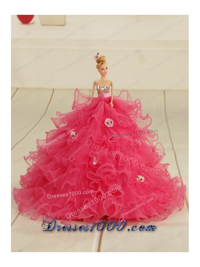 2015 Elegant Red Quinceanera Dresses with Beading and Ruffles