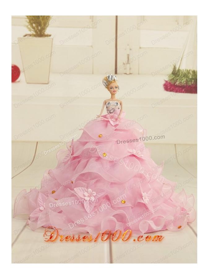 2015 Elegant Strapless Quinceanera Dresses in Rose Pink