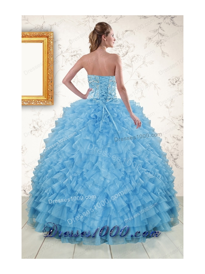 2015 Elegant Sweetheart Baby Blue Sweet 15 Dresses with Beading