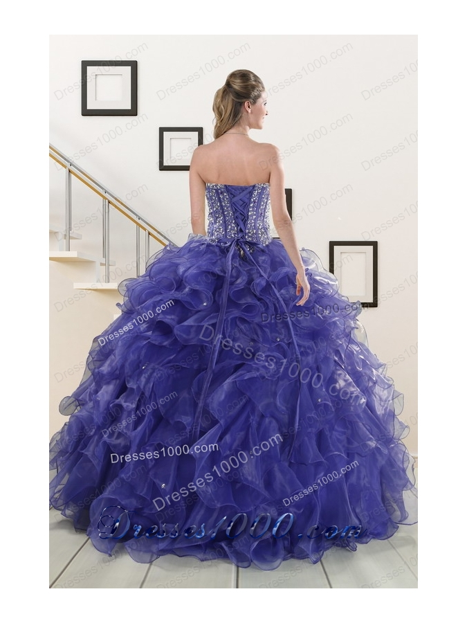 2015 Elegant Sweetheart Quinceanera Dresses with Sequins and Ruffles