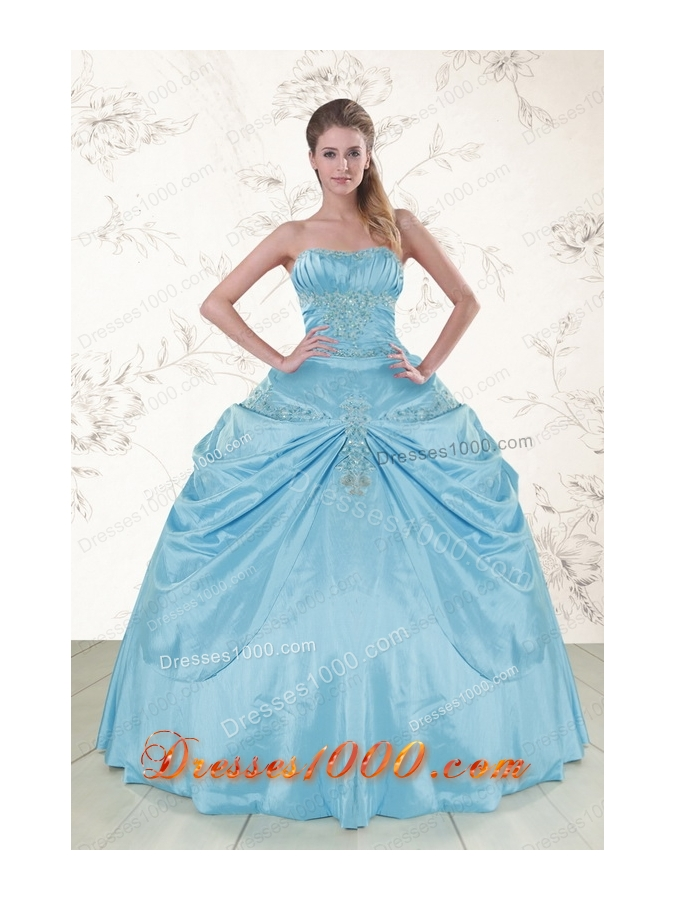 2015 Fashionable Aqua Blue Strapless Sweet 15 Dress with Appliques
