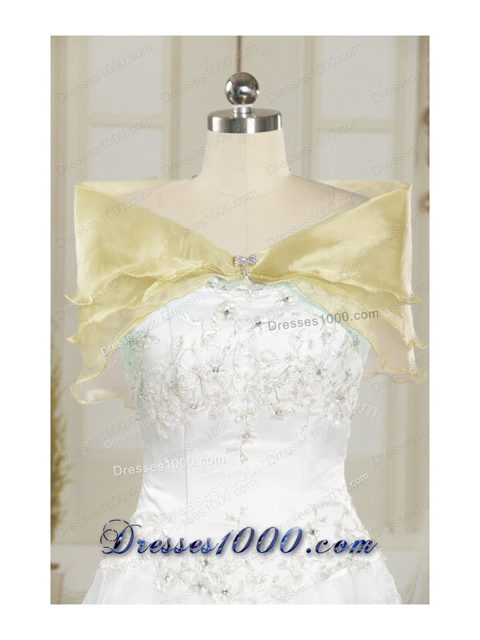 2015 Fashionable Beading Light Yellow Quinceanera Dresses