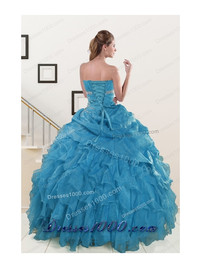2015 Fashionable Strapless Quinceanera Dresses with Beading and Ruffles