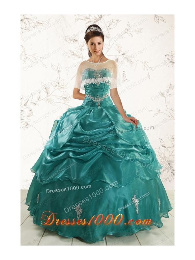 2015 Fashionable Sweetheart Organza Appliques Sweet 16 Dresses