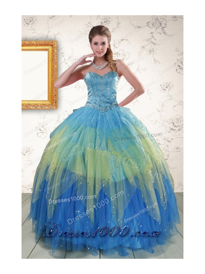 2015 Unique Sweetheart Beading and Ruching Quinceanera Dresses in Multi Color