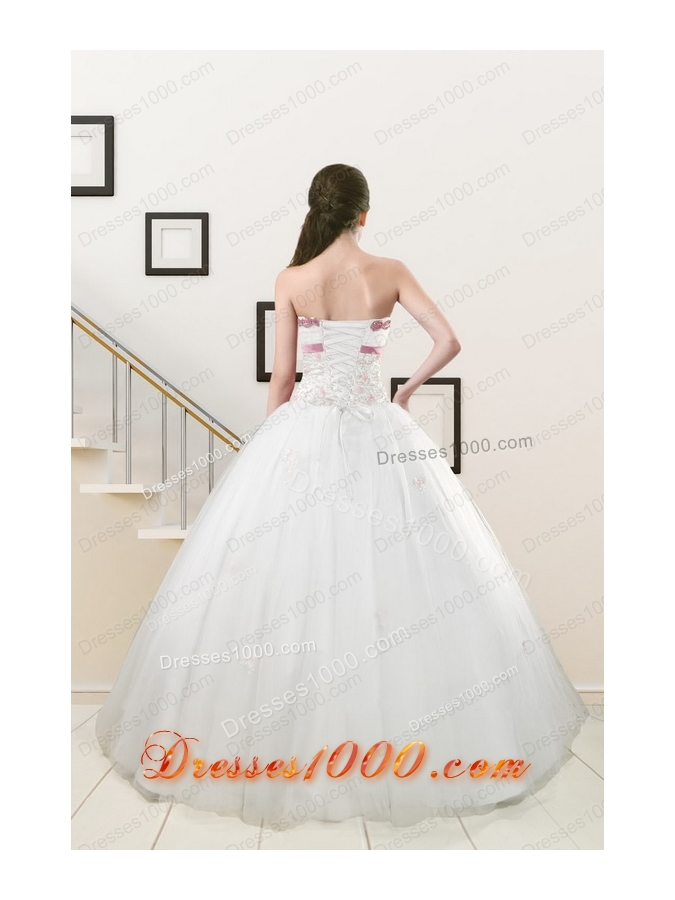 Cheap Discount Strapless Appliques and Belt Quinceanera Dresses in White
