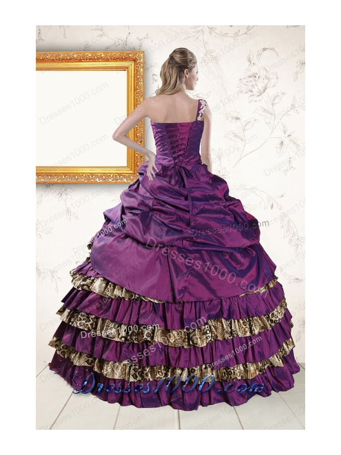Classic One Shoulder 2015 Quinceanera Dresses with Beading and Leopard