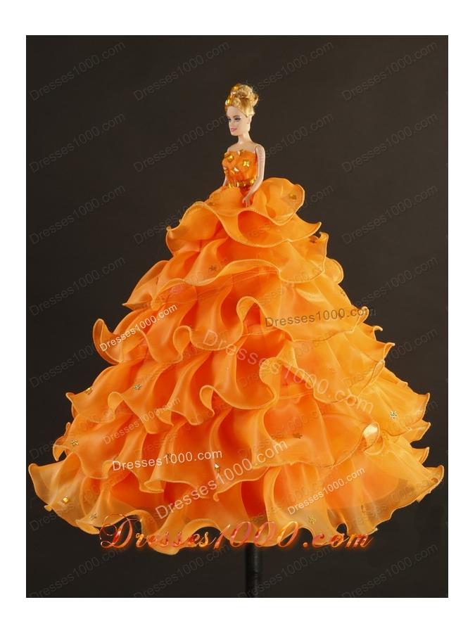 Elegant Strapless Appliques 2015 Quinceanera Dresses in Orange