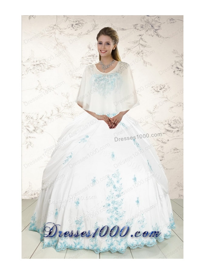 Fashionable Appliques 2015 Quinceanera Dresses in White
