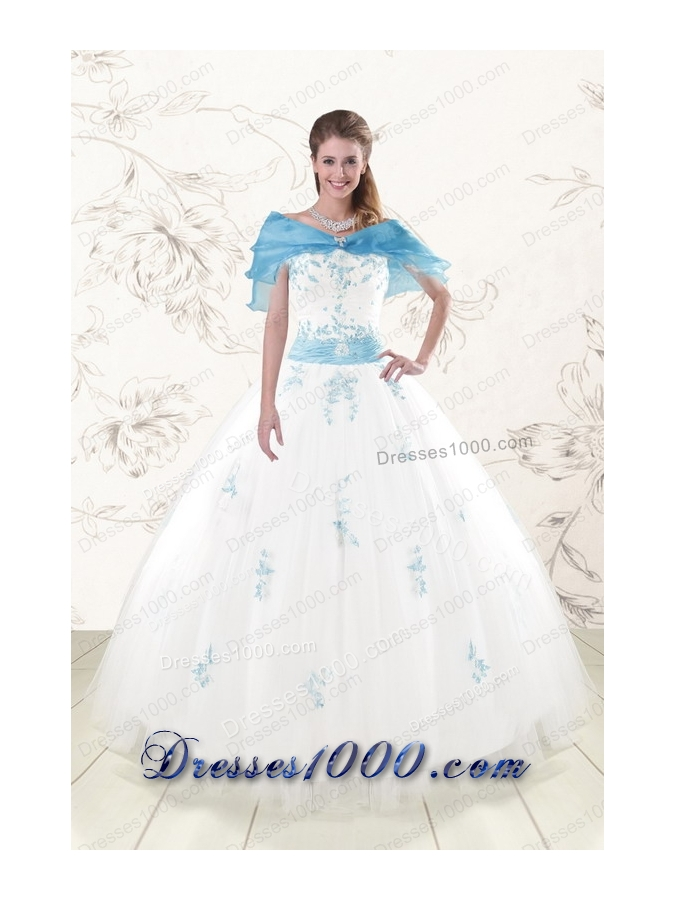 Fashionable White Ball Gown Quinceanera Dresses with Appliques and Beading