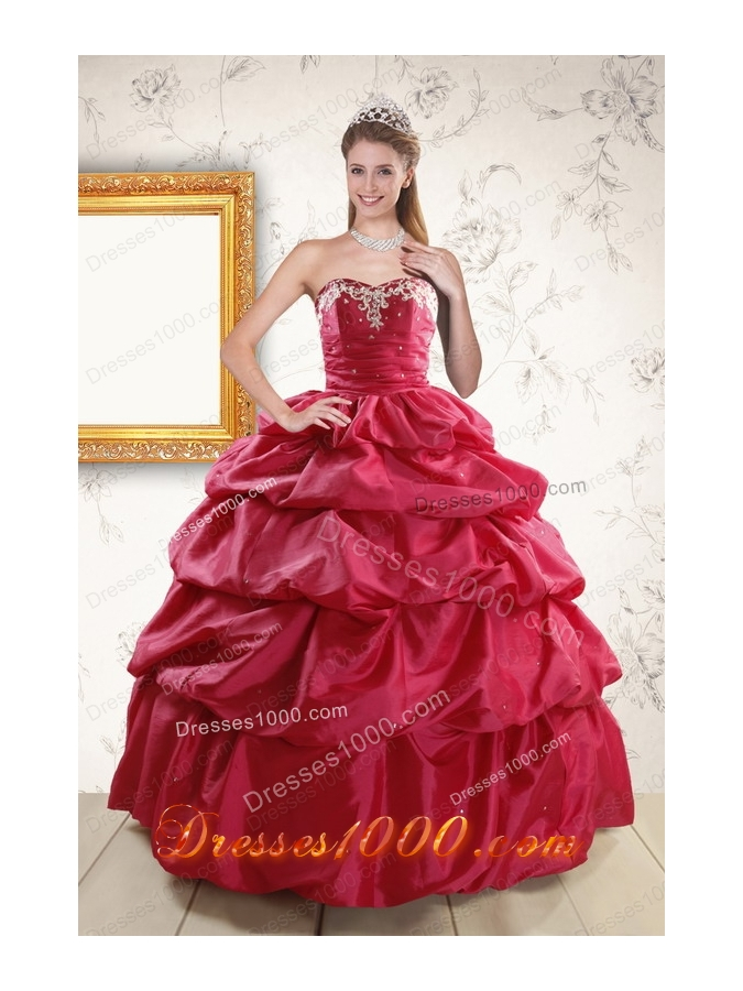 In Stock 2015 Hot Pink Quinceanera Dresses with Lace Up