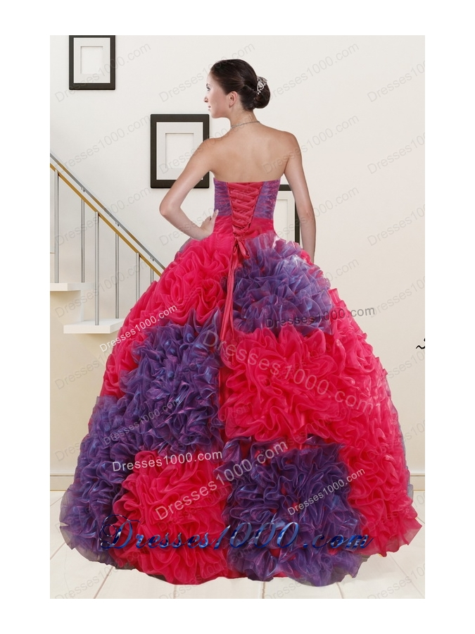 In Stock Beading and Ruffles Multi-color Quinceanera Dresses