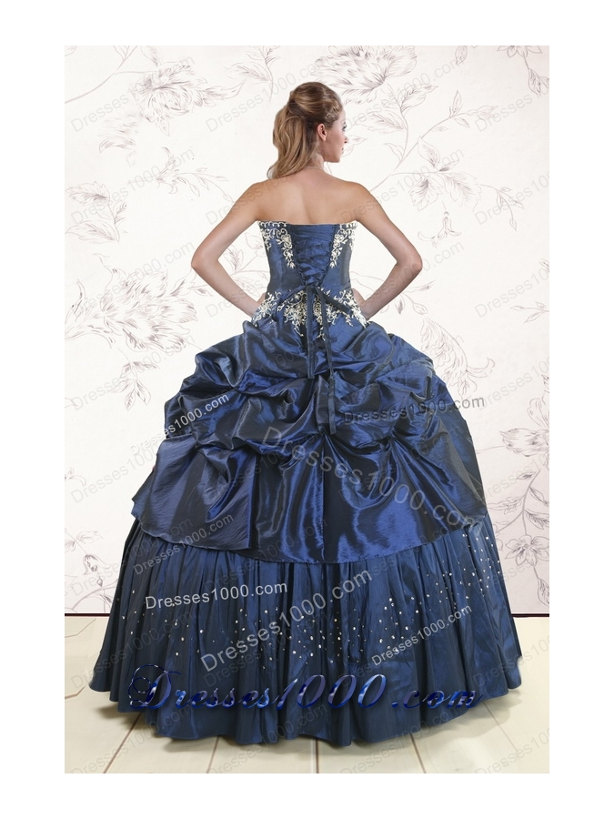 In Stock Embroidery and Pick Ups Cheap Quinceanera Dress in Navy Blue