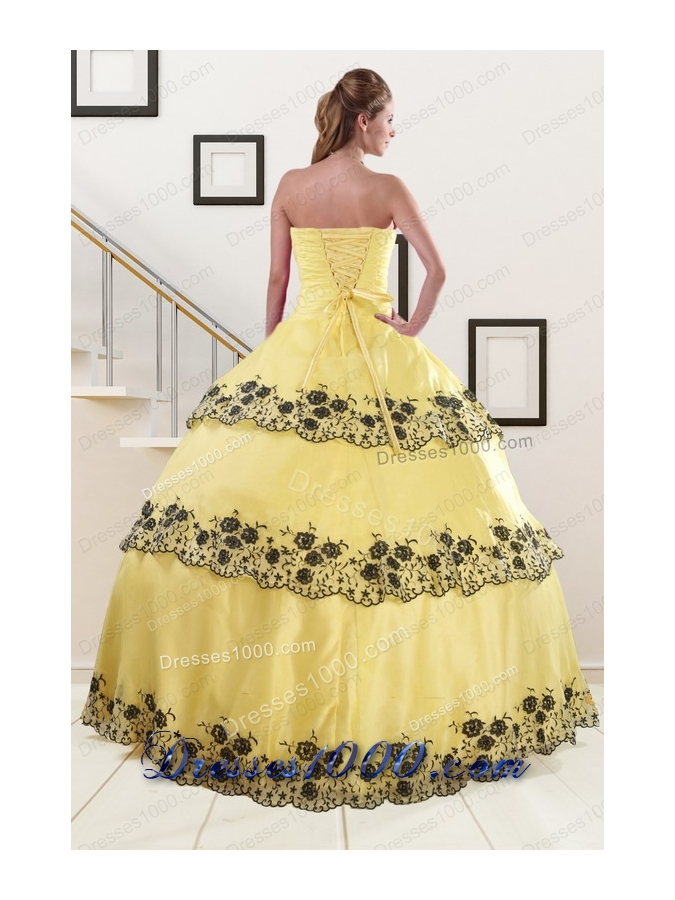 In Stock Light Yellow Quinceanera Dress with Appliques and Ruffled Layers