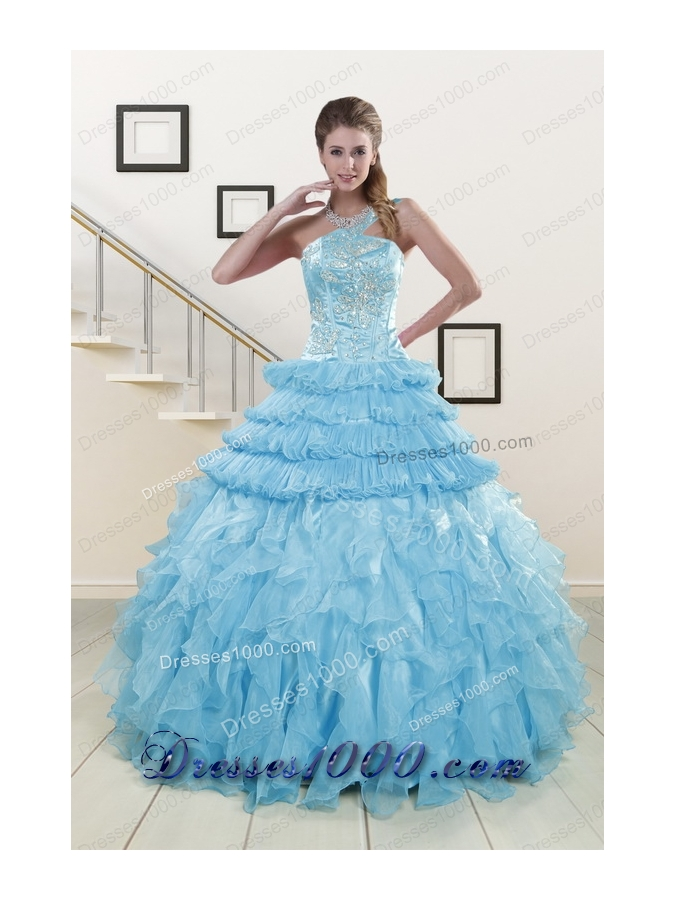 In Stock Pretty Baby Blue Sweet 15 Dresses with Beading