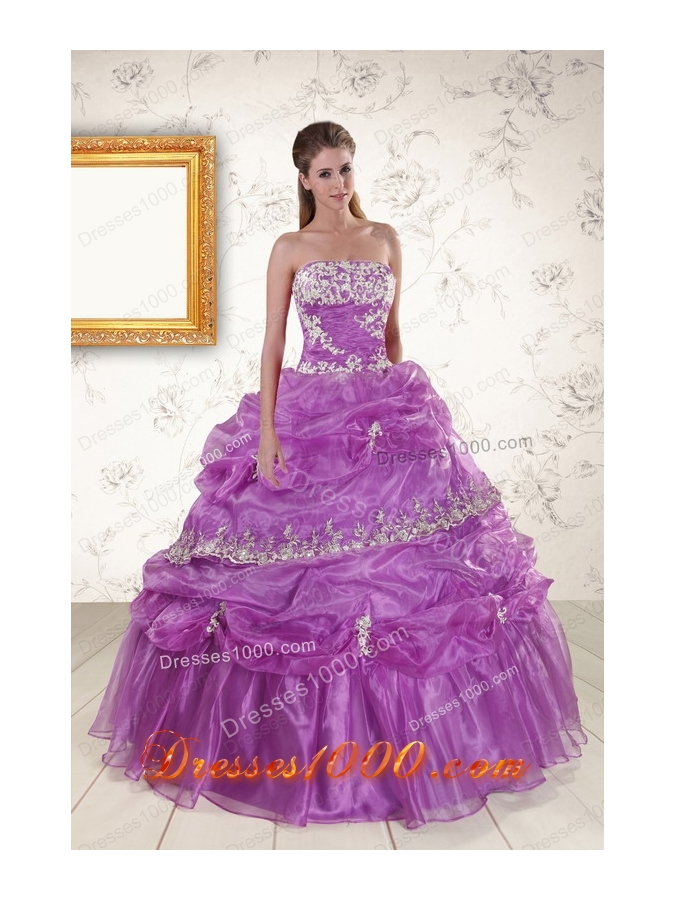 In Stock Pretty Strapless Lilac Quinceanera Dresses with Appliques