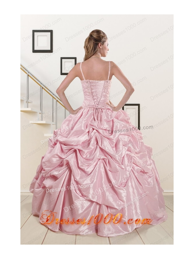 In Stock Sweet Spaghetti Straps Quinceanera Dresses in Pink
