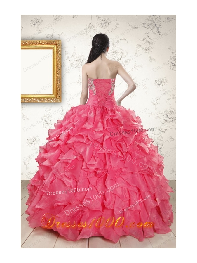 Strapless Beading and Ruffles Cheap Quinceanera Dresses in Hot Pink