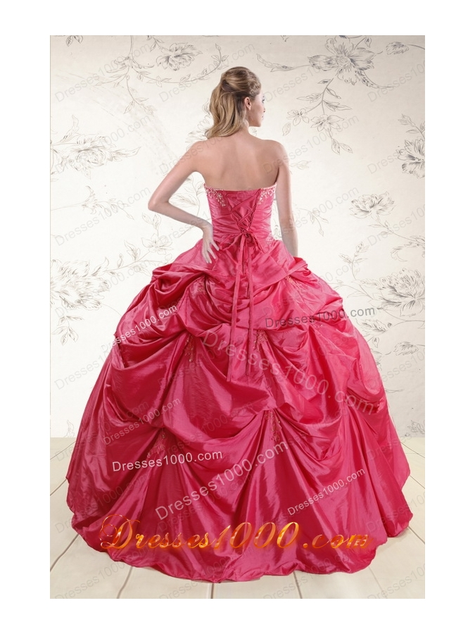 2015 Cheap Appliques Quinceanera Dresses in Hot Pink